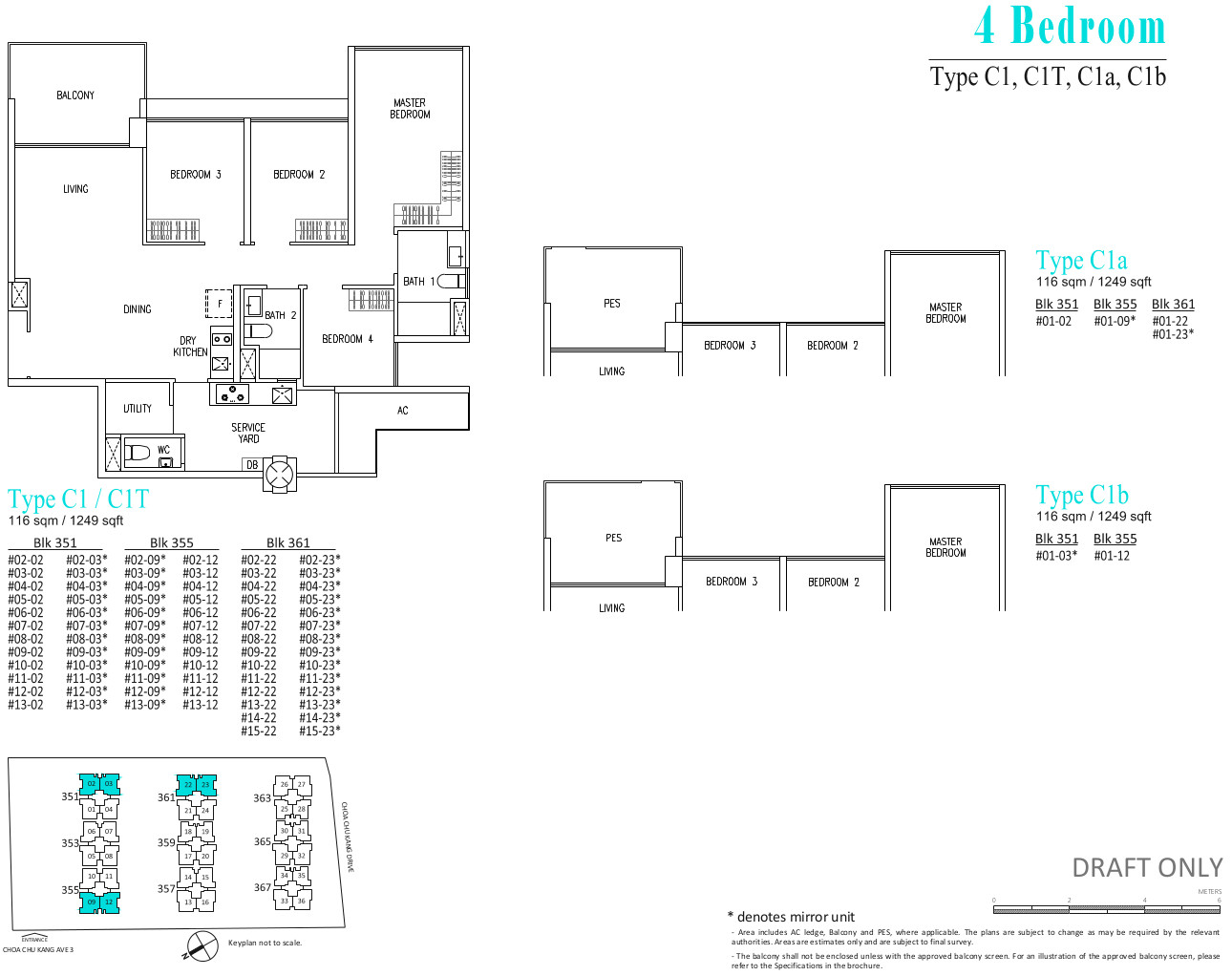 The Wandervale Floor Plans . Type C1 . 4 Bedroom