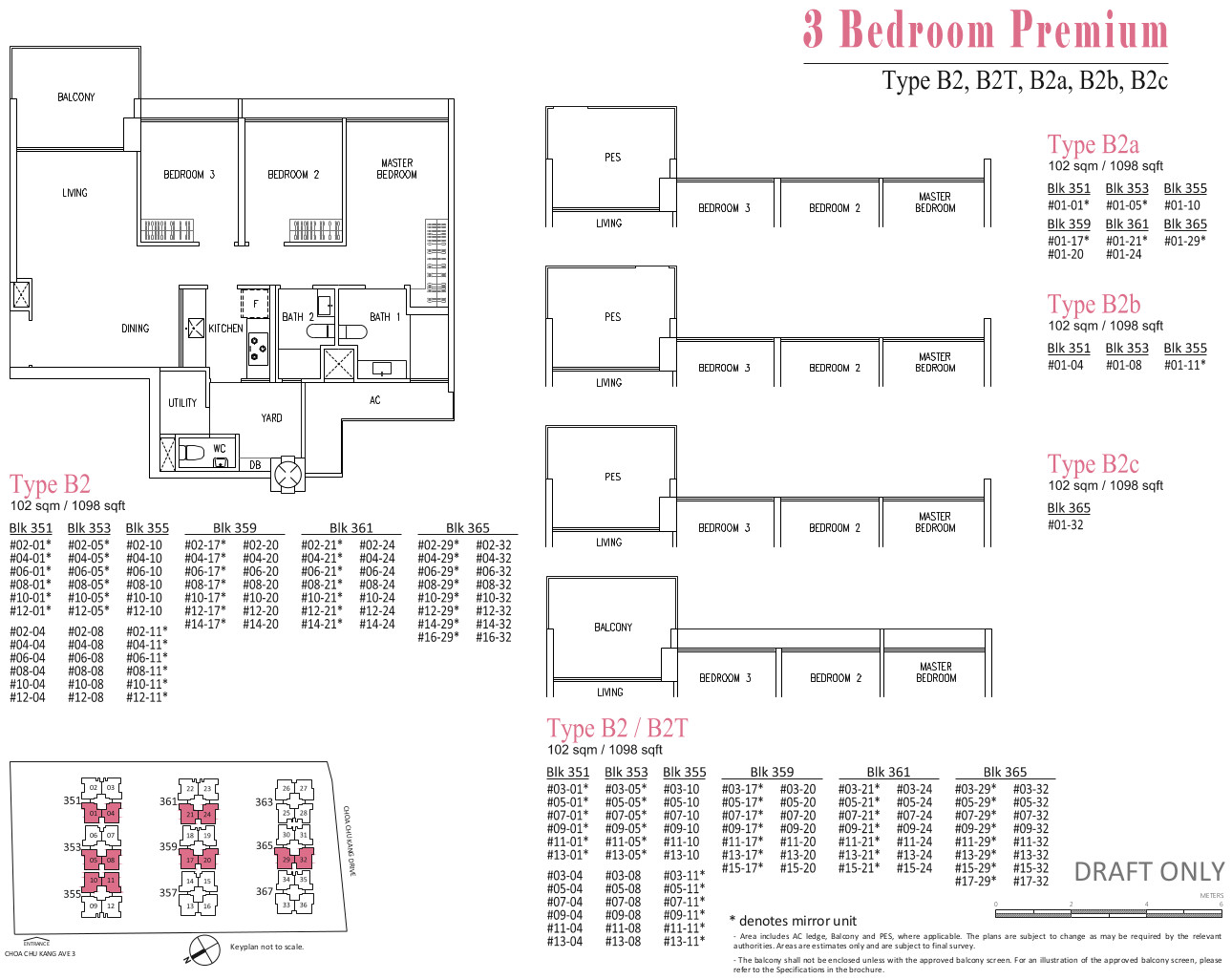 The Wandervale EC Floor Plans . Type B2 . 3 Bedroom Premium